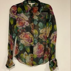 DVF Floral button down sheer blouse 8